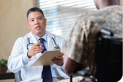 TRICARE beneficiary talking to doctor